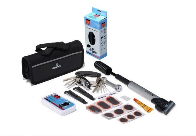 Free shipping Bike Bicycle Tyre Repair Multifunctional Tool Set Kit with mini portable Pump ,1Set/Lot(China (Mainland))
