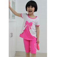 Free shipping Girls 2pcs set (t-shirt+short pants) high quality summer style size #4-#14 cotton/spandex  4 colors #0419K