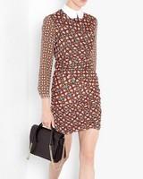 2014 ZA Women Long-sleeved Peter pan Collar Irregular Geometric Patterns Dress Brief Casual Slim Elegant Brand Vestidos lyq86