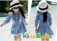 A052 Girl Kids Dress Casual Lovely Denim Blue Beautiful Lace Cowboy Clothes 3 7Y