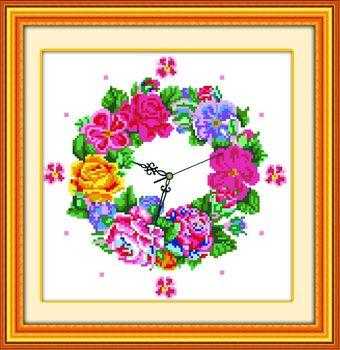 Stella free shipping Cross stitch garishness cross stitch wall clock table flowers and movement