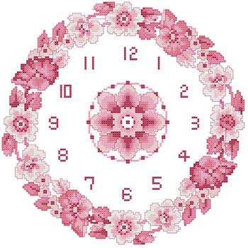 Stella free shipping Dmc spiraea cross stitch clock bzm0277 - - garland pink