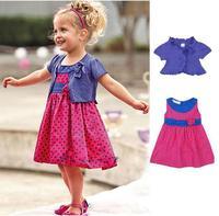 A0741 Kids Girls Clothing Dot Dress Purple Coat 2pcs Outfit Set Top Pants S0 5Y