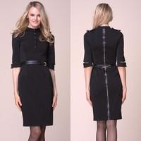 Free Belt Get Posh Black Women Dress 3/4 Sleeve Stretch Pencil VB Dress W Belt