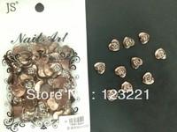 New!!!3d metal heart design nail art decoration nail studs nail art rhinestone100pcs/bag for whoelsale+free shipping