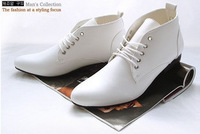 Fashionable casual solid color in high lacing shoes british style pointed toe shoes male white