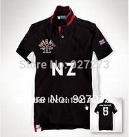 Free Shipping High Quality Men Shirt Designer Brand Name Mens New Zealand TEE Shirts Turn-down Collar Black Cotton Size S-3XL
