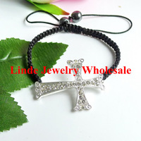 Free Shipping! NEW STYLE BRACELET Wholesale rhinestone carved alloy CROSS shamballa sideway braclet SILVER colour ATR0128