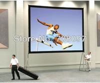 Free delivery! (4:3) 200'' Huge fast fold screen,quick folding screen with flight case (front projection screen material)