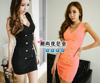 New 2013 Summer Women's Chiffon Vest dress sexy package hip nightclub Slim Korean Sundress 3 colors 3 Sizes S M L Free Shipping