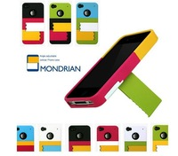 2012 new design mondrian shutters colorful hard case with adjustable stand for iphone 4 4s freeshipping