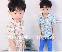 Wholesale -- 2014 New Summer Fashion Flower Casual Boys shirts children's Tops boy's short-sleeve shirt #NXY-3001