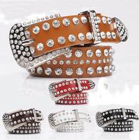 Free shipping, new cow leather gift rhinestone belt,western lady crystal leather belt,genuine leather rhinstone belt