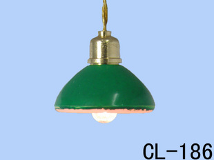Dollhouse1 : 12 mini doll house lamps accessories old fashioned green cover semi-cirle pendant light