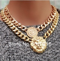 Min order is 10usd ( mix order )Fshion!!Lion Chunky Necklaces lion head choker necklace !Crystal Shop SJB308
