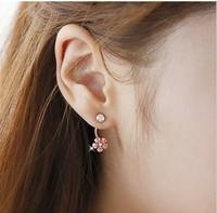 Korean Fashion Rhinestone Bijou Flower Plum two way huggie stud earrings, exquisite gift for women