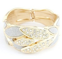 fashion cuff gold leaf bracelet cuff silver leaf bracelet for women spring bangles size 67*37mm