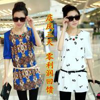 Chiffon shirt female 2013 spring and summer women's vintage slim medium-long plus size chiffon short-sleeve shirt top
