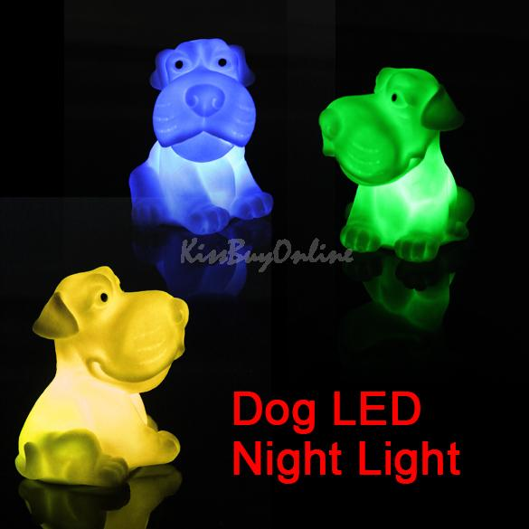 Colorful Christmas Wedding Lamp LED 7 Color Changing Dog Night Sleep Light K5BO(China (Mainland))