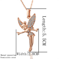 Free shipping  Factory Price Wholesale Fashion Jewelry 18K gold Plated Rhinestone Crystal Necklace LKN18KRGPN011