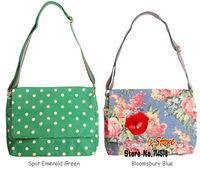 FREE SHIPPING 2013 new fashion summer blossom women messenger bag stylish cath canvas college bag green polka dot cross body bag