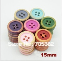 4 hole Natural vintage candy color wooden buttons for garments,15mm button,buttons wood,sewing accessories(SS-7060