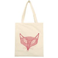 Fox vintage Large eco-friendly canvas bag shopping bag