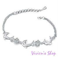Wholesale 12pcs Free Shipping Fashion Dolphin Anklet Czech Crystal Ankle Bracelets Silver Anklet A002