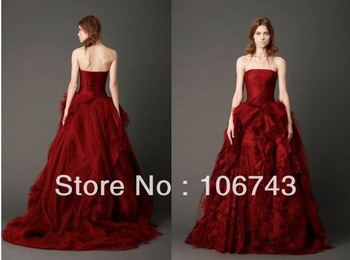 free shipping 2014 new style popular design Sexy sweetheart princess Custom tiered red bridal ball gown lace wedding dress