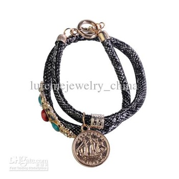 Double Black Snake Skin Print Leather Chain Penny Pendant And Acrylic Stone Bracelets