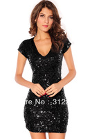 Fast Delivery+Popular N2684 Sequin V-neck Black Sexy Mini Dress Club Dress 2013 New