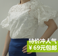 Perspectivity verys sexy black and white lace crotch top puff sleeve embroidery flower yarn shirt t-shirt ,Free shipping