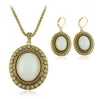 Jewelry Vintage White Necklace Earring Sets Jewelry Sets S039