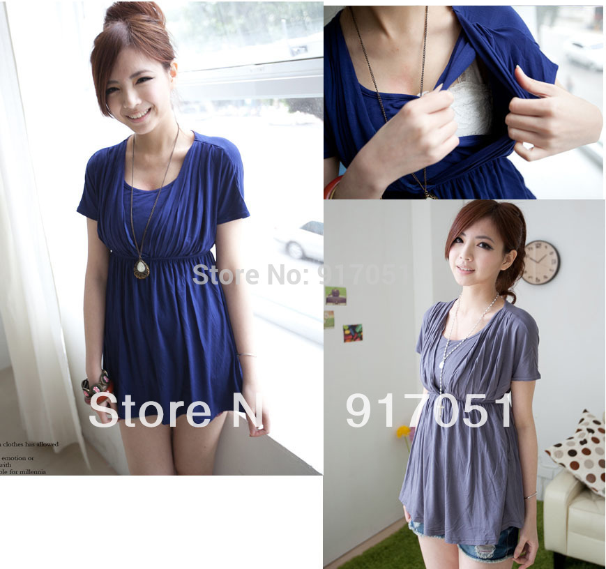 Free shipping Fashion comfy Maternity Breastfeeding Top Nursing top with folds decoration(China (Mainland))