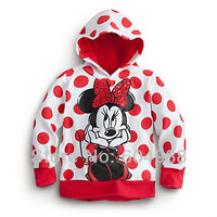 Free shipping Baby girl's Coat Minnie Big Red Dot Girl's outwear Girl Coat Jacket Cartoon Top Children Hoodie Jacket 5pcs/lot