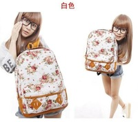 2013  Free Shipping 1pcs/lot new arrival Women Fashion Vintage Cute Flower School Book Campus Bag Backpack for gril 5 Colors