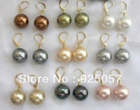 wholesale Beautiful 9Pair 10mm Shell Pearl EarringFashion jewelry