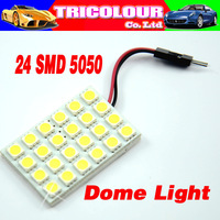 HK POST FREE!!! Festoon T10 Dome Panel Light 24 SMD 5050 LED Car Reading Interior light 12V white blue 50pcs/lot #LL12