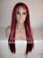 Free Shipping Synthetic hair lace front wig 22inches Burg color straight