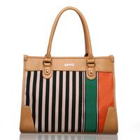 For oppo   bags l0045-3 fashion canvas stripe patchwork one shoulder handbag women's handbag 2013 spring and summer