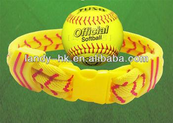 2013 New  3 Rope Softball Bracelet, Aqua-titanium aqua-germanium anion healthy softball bracelet 50/lot, Free Shipping