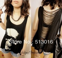 Free shipping Fashion skull print female sexy cutout racer back tassel modal cotton basic top vest t-shirt hollow tshirt
