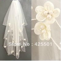 DISCOUNT CHEAP wholesale/retails multi layers pearl flowers wedding veil/bridal veil/bridal accessories/head veil tulle veil