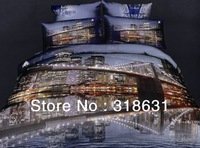 4pcs Queen Full Size Reactive Printing 100% Cotton Modern Fascinating City Night Scene Bedding Bed Sets Doona Duvet Covet Set