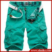 Fashion men's 5 colors washed cotton shorts man multi pocket zipper slacks loose casual male trousers C458