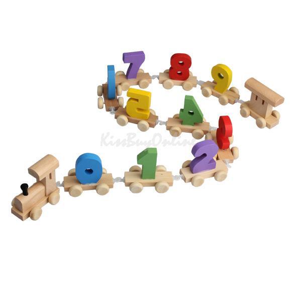 Digital Number Wooden Train Figures Railway Kids Wood Mini Toy Educational K5BO(China (Mainland))