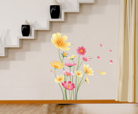 free shipping vinyl  sticker wall decor China diy wall decal multicolor flower home 50*70 cm