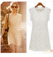 2014 European summer fashion woman lace mesh dress brand floral embroidery sexy white club party mini for women plus size xl