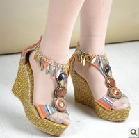 2013 summer wedges female sandals straw braid high-heeled sandals color block decoration bohemia comfortable shoes