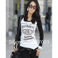 Long Sleeve Round Collar Color Matching Print Cotton Women T-shirts 2013 Free Shipping X00010CNMN
